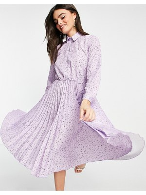 Closet London pleated midi dress with sparkle buttons in lilac dot print-purple