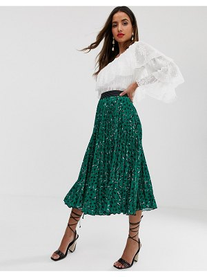 Closet London pleated midi skirt in green fleck print