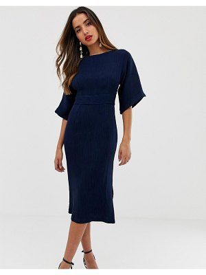 Closet London ribbed pencil dress with tie belt in navy