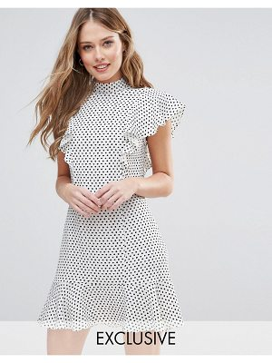 Closet London Ruffle Dress In Polka Dot