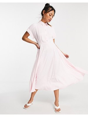Closet London short fold sleeve shirt midi dress with crystal buttons in pink