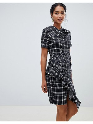 Closet London short sleeve checked dress with ruffle detail