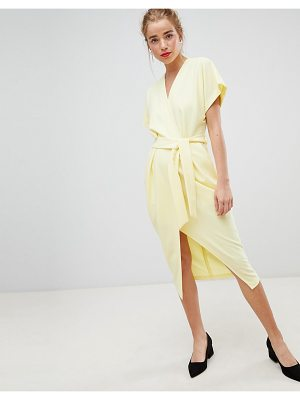 Closet London short sleeve tie front dress in lemon yellow