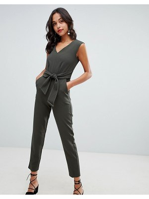 Closet London tailored jumpsuit with tie waist