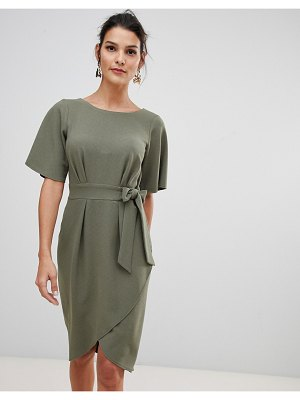 Closet London tie front dress with kimono sleeve in khaki