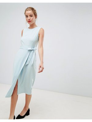 Closet London tie v-back pencil dress in sky blue