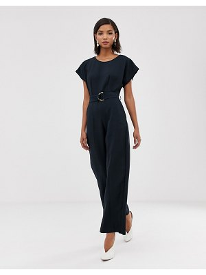 Closet London wide leg jumpsuit with buckle belt detail in navy