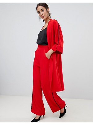 Closet London wide leg pants with side stripe in red