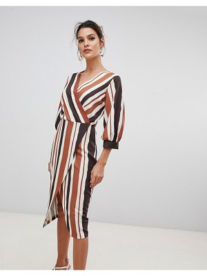 Closet London wrap dress in contrast stripe