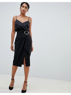 Closet London wrap front midi skirt with buckle detail