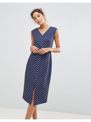 Closet London Wrap Front Pencil Dress In Polka Print