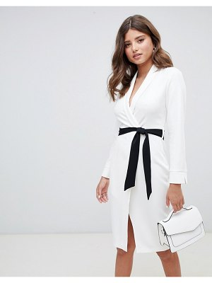 Closet London wrap front pencil dress with contrast belt