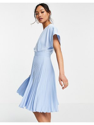 Closet London wrap front pleated skater dress in pastel blue-blues