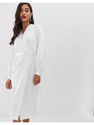 Closet London wrap front satin long sleeve pencil dress with belt detail in white
