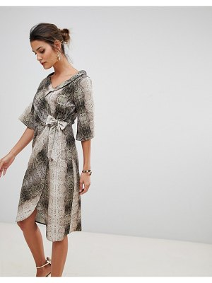 Closet London wrap front stripe dress in snake print
