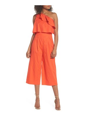 CLOVER AND SLOANE ruffle one-shoulder crop jumpsuit
