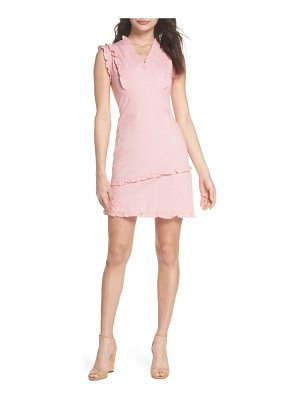 CLOVER AND SLOANE ruffle v-neck sheath dress