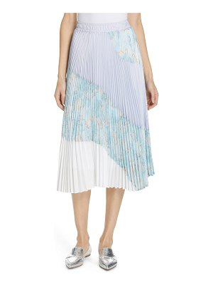 Clu floral colorblock pleated skirt