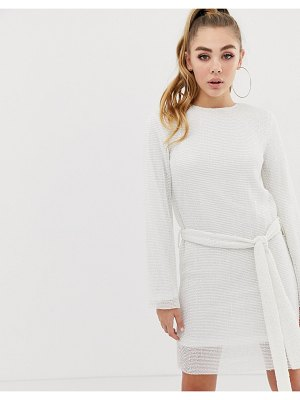 Club L allover sequin shift dress with belt detail in white