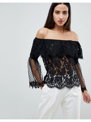 Club L Bardot Lace Top With Polka Dot Mesh Frill Sleeve Arms