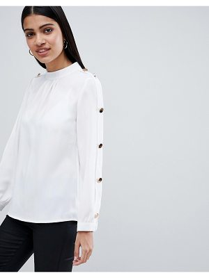 Club L Chiffon Blouse With Gold Button Detail