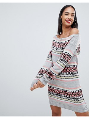 Club L christmas off the shoulder sweater dress with all over intarsia fairsle print