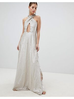 Club L Cross Front Wrap Over Full Embellished Sequin Maxi Dress With Slit Detail