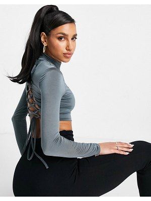 Club L London high neck lace-up back crop top in slate set-purple