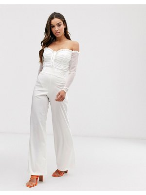 Club L London high waist tailored pants in white
