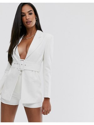 Club L London longline blazer with belt detail in white