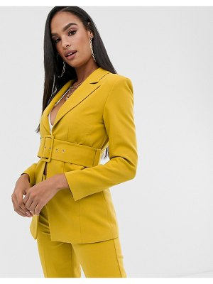 Club L London longline blazer with belt detail in yellow