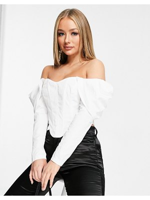 Club L London off shoulder corset top with volume sleeve detail in white