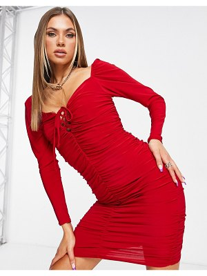 Club L London off-the-shoulder ruched mini dress with tie front in red