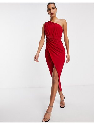 Club L London one shoulder rushed midi wrap dress in red