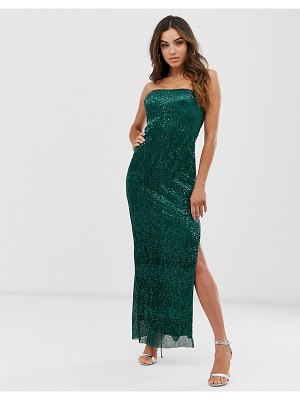 Club L London plisse sequin midi dress-green
