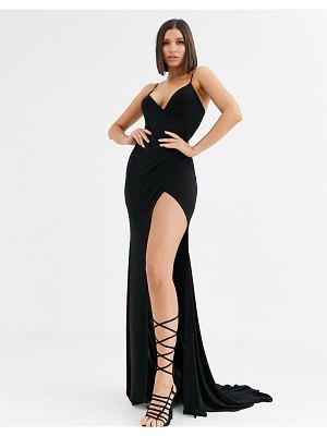 Club L London plunge front maxi dress with high thigh split in black
