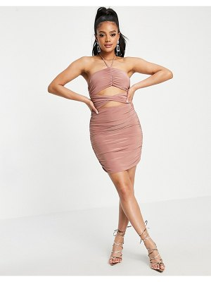 Club L London ruched cut out halterneck mini dress in pink