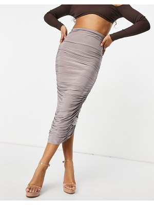 Club L London ruched detail body-conscious maxi skirt in mauve-purple