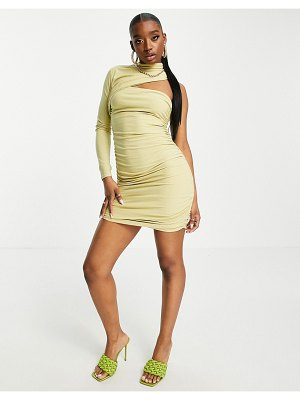 Club L London ruched one shoulder cut out mini dress in sage-green