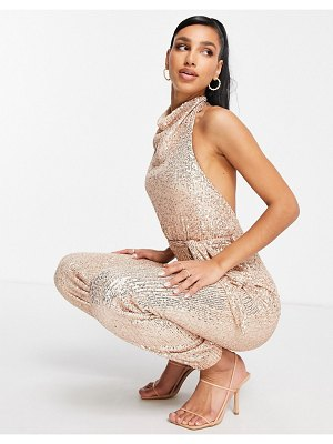 Club L London sequin high neck cuffed detail jumpsuit in rose gold