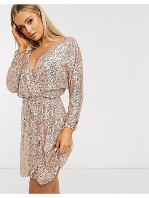 Club L London sequin plunge neck long sleeve mini dress in rose gold