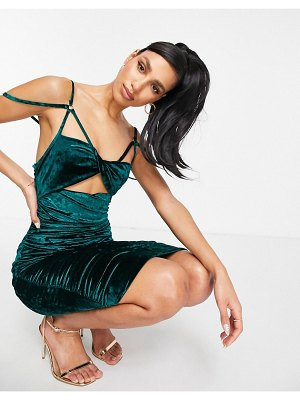 Club L London velvet cut out bust detail ruched midi dress in emerald green