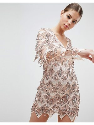 Club L Long Sleeve Tassel Fringe Sequins Plunge Bodycon Dress