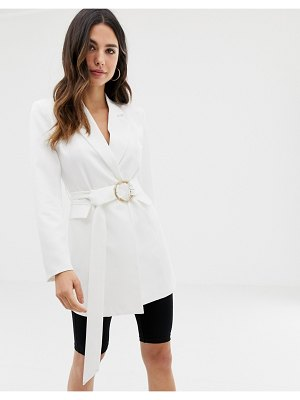 Club L London longline blazer with buckle detail in white