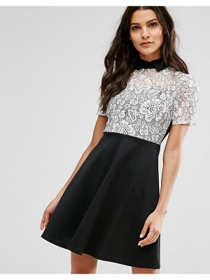 Club L Monochrome Skater Dress With Lace Panel