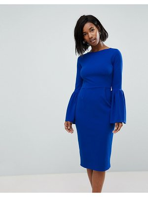 Club L pencil dress with extreme frill sleeve