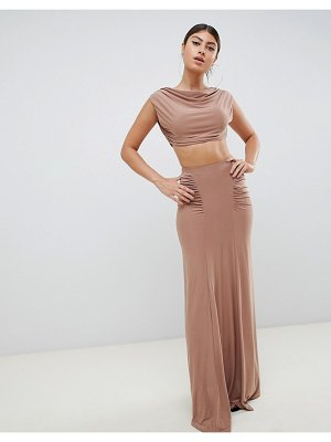 Club L ruched detail slinky maxi skirt