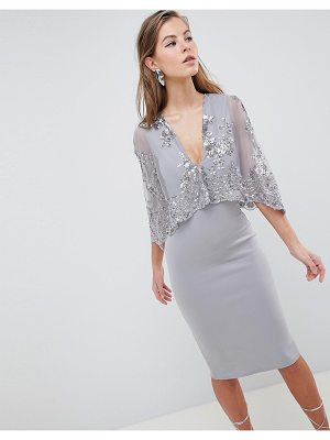 Club L Sequin Cape Overlay Scuba Midi Dress