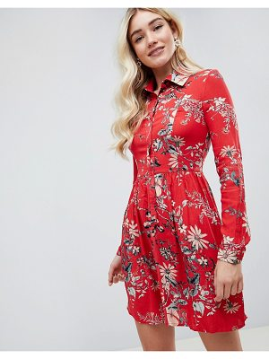 Club L Sleeve Printed Collar Detailed Shirt Dress