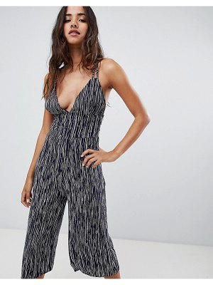 Club L Striped Culottes Jumpsuits